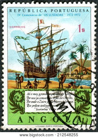 ANGOLA - CIRCA 1972: A stamp printed in Angola devoted to 4th centenary of the publication of The Lusiads shows the Galleon on Congo River circa 1972