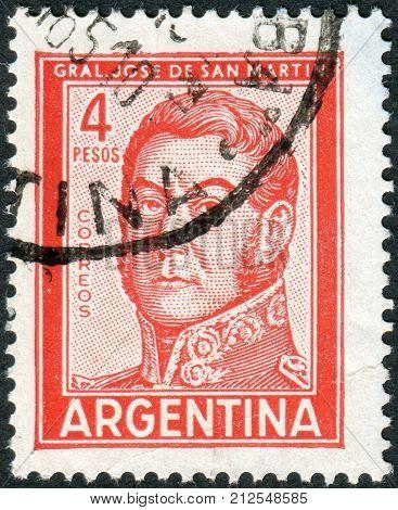 ARGENTINA - CIRCA 1962: A stamp printed in the Argentina shows a national hero Jose de San Martin circa 1962