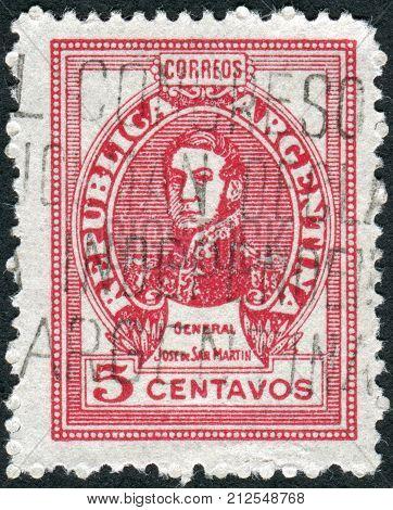 ARGENTINA - CIRCA 1948: A stamp printed in the Argentina shows a national hero Jose de San Martin circa 1948