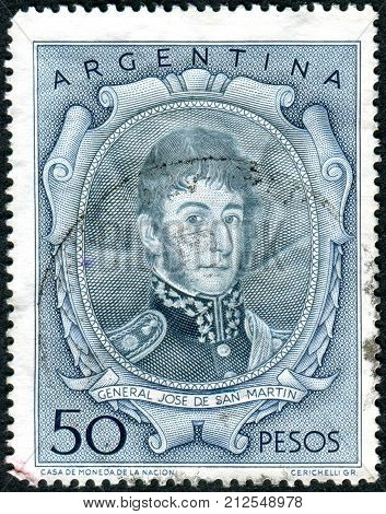 ARGENTINA - CIRCA 1955: A stamp printed in the Argentina shows a national hero Jose de San Martin circa 1955