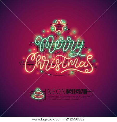 Merry Christmas colorful neon sign makes it quick and easy to customize your holiday projects. Used neon vector brushes included.