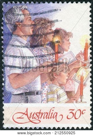 Australia - Circa 1987: Postage Stamp Printed In Australia, Christmas Issue, Shows Carols By Candlel