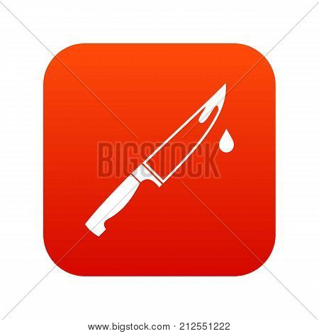 Steel knife icon digital red for any design isolated on white vector illustration