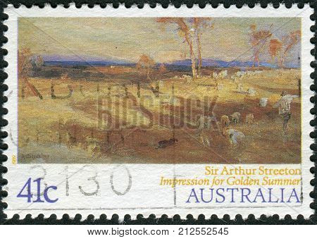 Australia - Circa 1989: Postage Stamp Printed In Australia Shows Paintings By Australian Artists: Im
