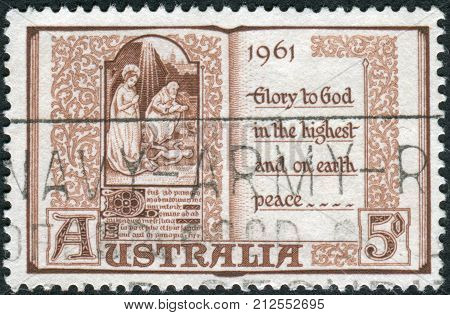 Australia - Circa 1961: Postage Stamp Printed In Australia, Christmas Issue, Shows A Page From Book