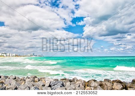 South Beach Miami Florida. view of amzing color sea with cloudy sky