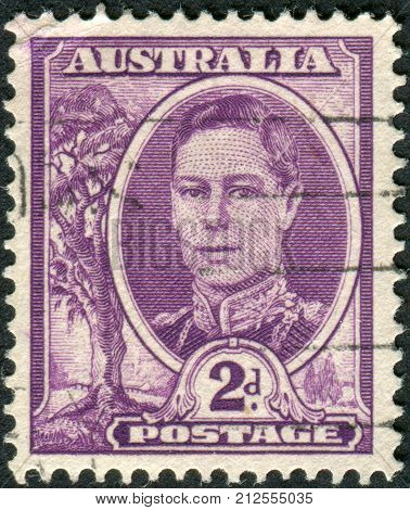 Australia - Circa 1944: Postage Stamp Printed In Australia Shows King Of The United Kingdom And The