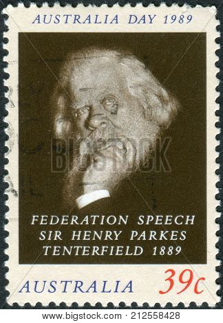 Australia - Circa 1989: Postage Stamp Printed In Australia Shows An Advocate Of The Federation Of Th