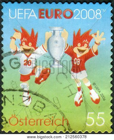 Austria - Circa 2008: Postage Stamp Printed In Austria, Shows The Official Symbols Of The European F