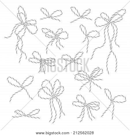 Collection of gray bakers twine bows on white background