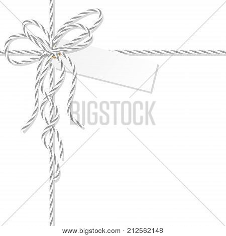 Abstract white background with tag label tied up with gray rope bakers twine bow and ribbons