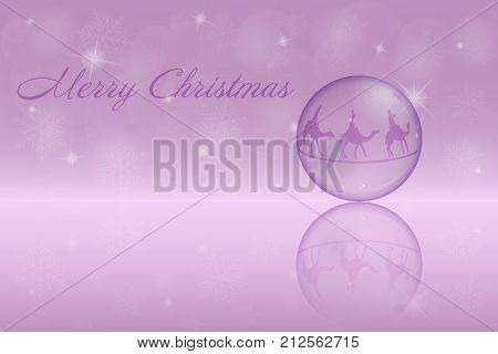 Christmas time. Christmas bowl with the three kings follow the star to Bethlehem. Text: Merry Christmas.