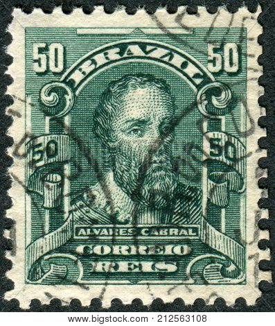Brazil - Circa 1906: Postage Stamp Printed In Brazil, Shows A Discoverer Of Brazil, Pedro Alvares Ca