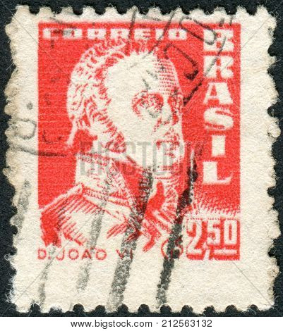Brazil - Circa 1959: Postage Stamp Printed In Brazil, Shows The King Of The United Kingdom Of Portug