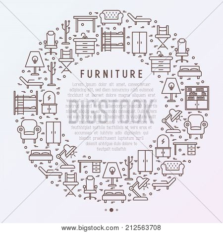 Furniture concept in circle with thin line icons of coach, bookcase, bed,  dresser, chair, lamp, floor hanger. Modern vector illustration for banner, web page, print media.