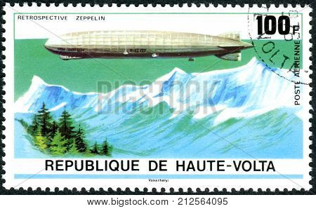 UPPER VOLTA - CIRCA 1976: A stamp printed in Republic of Upper Volta dedicated to the 75th Anniversary of the Zeppelin Airship shows the Airship LZ 127 circa 1976
