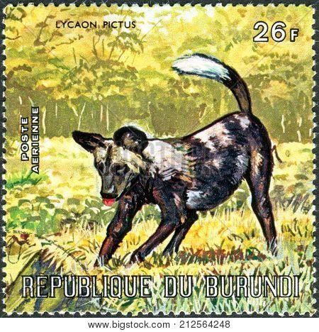 BURUNDI - CIRCA 1971: A stamp printed in Burundi shows Lycaon pictus circa 1971
