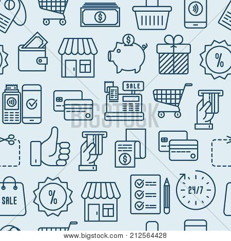Shopping seamless pattern with thin line icons: cashbox, payment, pos terminal, piggy bank, sale, currency, credit card, trolley. Vector illustration for banner, print media.