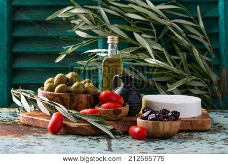 Tradtional Set Of Greek Mezze