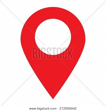 location pin icon on white background flat style. red location pin symbol.