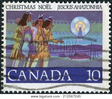 CANADA - CIRCA 1977: Postage stamp printed in Canada Christmas Issue portrayed Hunters Following Star circa 1977