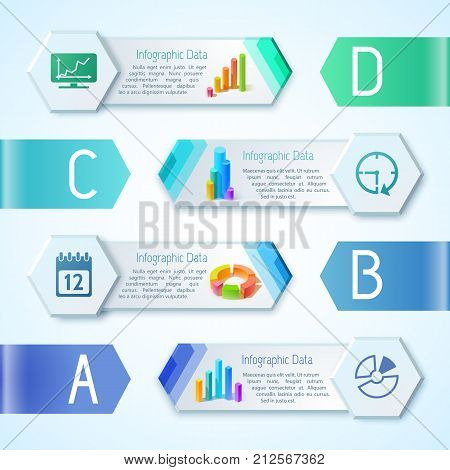 Inforgaphic background concept with modern communication pictograms in hexagon frames with joint place for editable text vector illustration