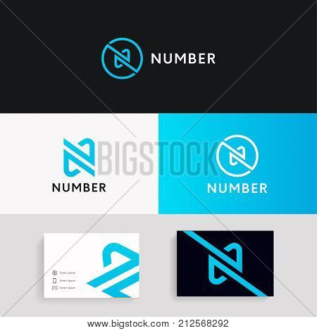 Linear N Logo Icon Company Brand Sign Vector Design With Business Card.