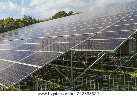 Solar panels, Photovoltaic modules for innovation green energy for life.