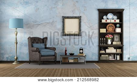 Old Room With Dark Wooden Bookcase
