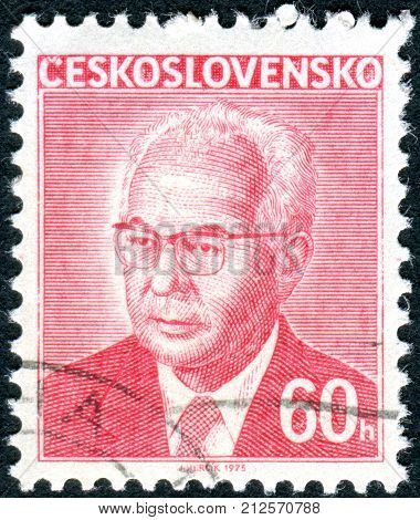 CZECHOSLOVAKIA - CIRCA 1975: A stamp printed in the Czechoslovakia shows the president of Czechoslovakia Gustav Husak
