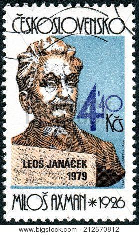 CZECHOSLOVAKIA - CIRCA 1982: Postage stamp printed in Czechoslovakia shows Czech composer Leos Janacek a bust by Milos Axman