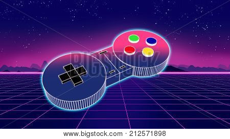 Retro Game Controller On Colorful Background 3D Illustration