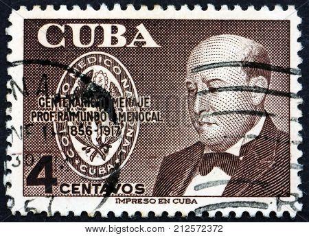 CUBA - CIRCA 1956: a stamp printed in the Cuba shows Raimundo G. Menocal Physician circa 1956