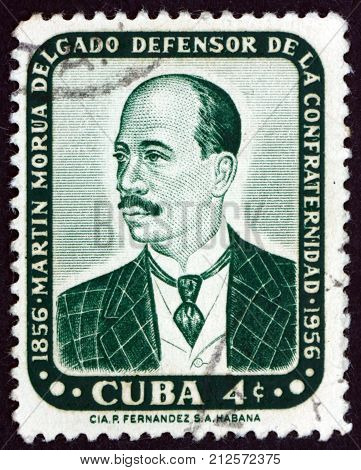 CUBA - CIRCA 1957: a stamp printed in the Cuba shows Martin Morua Delgado Cuban writer the first black President of the Cuban Senate circa 1957