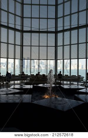 DOHA, QATAR - NOVEMBER 6, 2017: View of Doha's towers from the restaurant area inside the Museum of Islamic Art