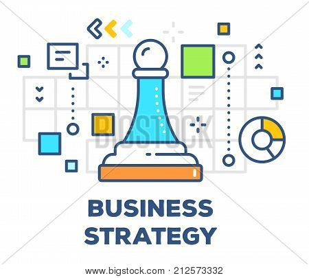 Vector Illustration Of Chess Piece Pawn With Icons. Business Strategy Concept On White Background Wi