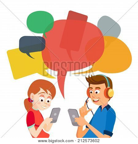Teen Girl And Boy Messaging Vector. Communicate On Internet. Chatting On Network. Using Smartphone. Chat Bubbles. Social Media Addiction