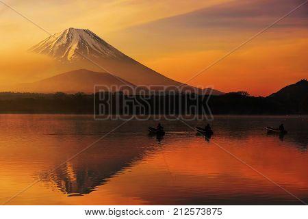 Lake Shoji At Sunrise With Mt. Fuji