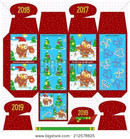 Winter holidays, Christmas, New Year gift packaging template with a twist - four visual puzzles with owls, christmas trees, candy canes. Answers and additional design elements included.