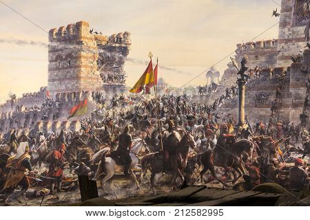 ISTANBUL, TURKEY - 6 JUNE , 2016:Fall of Constantinople  Captured by Mehmet. Panorama Museum 1453, Istanbul, Turke