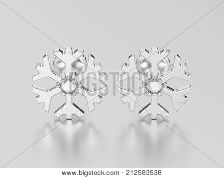 3D illustration white gold or silver diamond snowflake stud earrings on a grey background