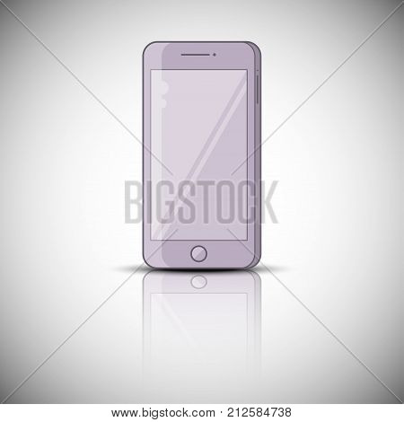 Color vector realistic mobile phone, smarphone with reflection, vector illustration design. Flat style.