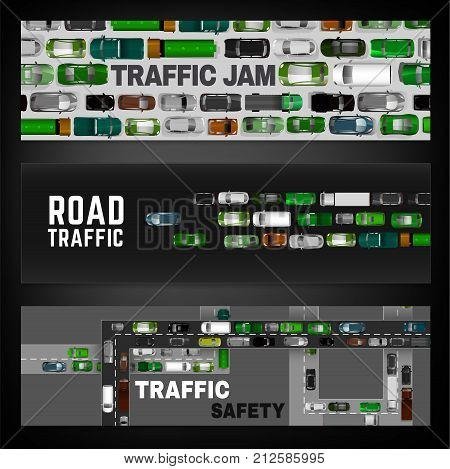 City traffic digital banners with top view cars images. Editable vector illustration in modern flat style. Landscape layout useful for print, web, leaflet or poster design. Automotive collection.