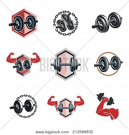 Vector fitness and athletics theme illustrations collection made using dumbbells and disc weights sport equipment. Bodybuilder body shape.