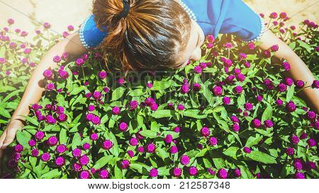 Asian women travel sleep relax. women hill tribe in the field of flowers Gomphrena globosa purple. Thailand