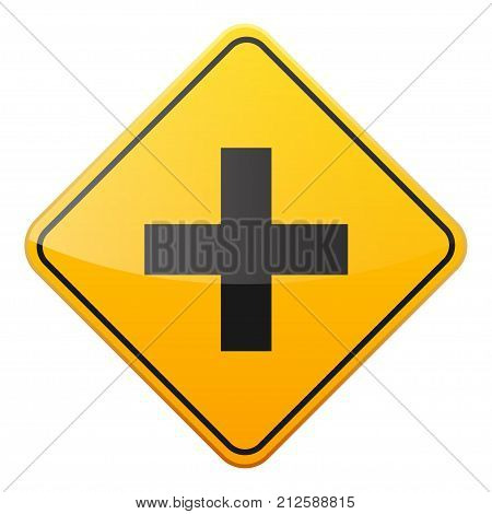 Road yellow sign on white background. Road traffic control.Lane usage. Stop and yield. Regulatory sign. Street. Curves and turns.