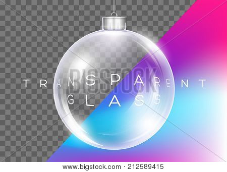 Vector Crystal Clear Christmas Ball. Realistic Glossy Transparent Ball. Xmas Toy for Banner Poster Invitation Flyer Greeting Card. 3D Reflections Shiny Effect. Isolated.