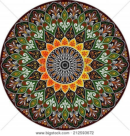 Drawing of a floral mandala in gold black green and red colors on a white background. Hand drawn tribal vector stock illustration