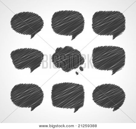 Hand draw speech bubbles set vector illustration. Eps 10,