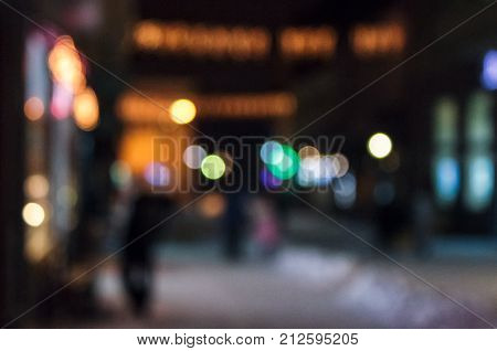 Defocused Background Of City Lights On Street